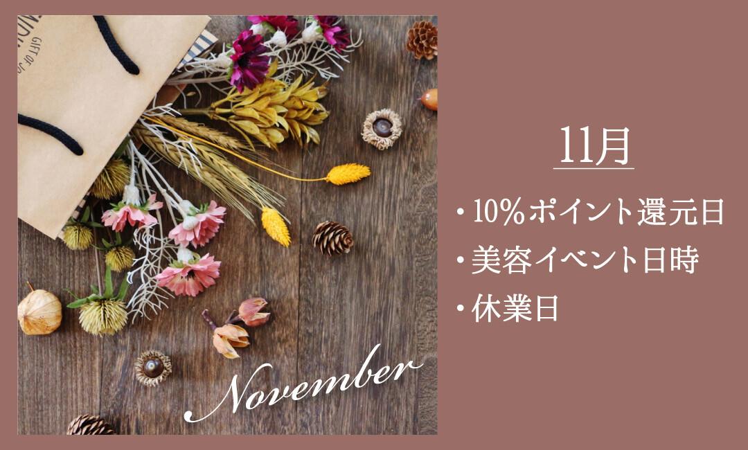 【11月】「10%ポイント還元日」・「美容イベント日時」・「休業日」